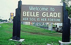 The former sign at the entrance to Belle Glade