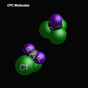 Chlorofluorocarbons (space-filling representation)
