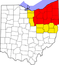 Map of counties in Northeast Ohio