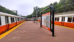 Orange Line trains at Roxbury Crossing, May 2014