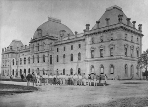 Queensland State Archives 3376 Parliament House erection of balconies on George Street frontage c 1878