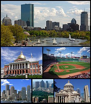 Clockwise from top: Back Bay skyline, Fenway Park, Christian Science Center, Boston Common, the Financial District, and the Massachusetts State House