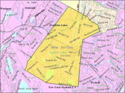 Census Bureau map of Franklin Lakes, New Jersey