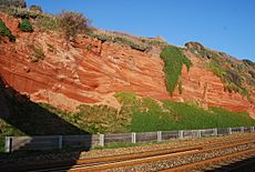 Cross bedded Red Triassic Sandstone Cliffs - geograph.org.uk - 1116610