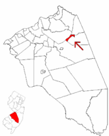 Wrightstown highlighted in Burlington County. Inset map: Burlington County highlighted in the State of New Jersey.