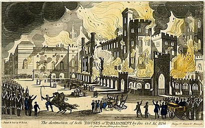 The 1834 destruction of both Houses of Parliament by fire