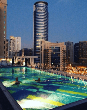 The hotel's rooftop pool in Dubai