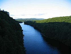 The Connecticut River looking north in the early evening, from the French King Bridge at the Erving-Gill town line