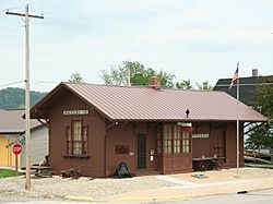 Peterson Station Museum at the center of the town