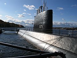 USS Nautilus moored in Groton at the Submarine Force Museum
