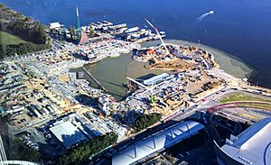 Aerial view of Elizabeth Quay Construction October 2015, Perth, Western Australia
