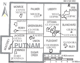 Map of Putnam County Ohio With Municipal and Township Labels