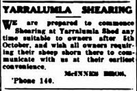 Mcinnes Bros Ad for shearing 1925
