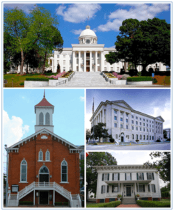 Images top, left to right: Alabama State Capitol, Dexter Avenue Baptist Church, Frank M. Johnson, Jr., Federal Building and United States Courthouse, First White House of the Confederacy