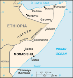 Mogadishu's location in Somalia