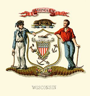 Wisconsin state coat of arms (illustrated, 1876)