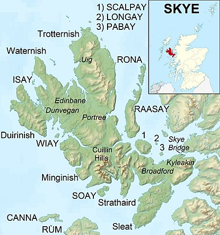 Isle of Skye UK relief location map labels