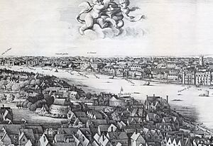 1647 Long view of London From Bankside - Wenceslaus Hollar (cropped)