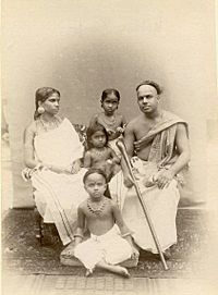 Albumen photograph of an Indian family with children in the 1870s