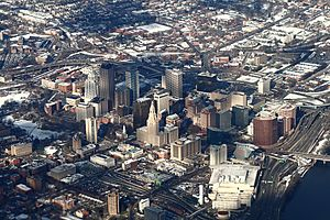 Downtown Hartford from above, 2009-12-10