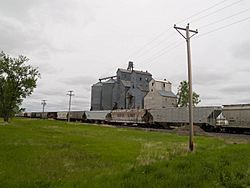 The town's grain elevator, with a DMVW train parked at the terminal in the foreground
