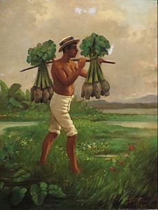 Man with a Yoke Carrying Taro by Joseph Strong, oil on canvas board, 1880, Honolulu Museum of Art, accession 12692.1