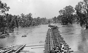 StateLibQld 1 78999 Carry bridge going over a flooded river on the Great Northern Railway line, 1930s