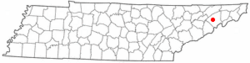 Location of Mosheim, Tennessee