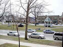 The town green, reputed to be the state's longest