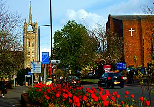 Two churches and some flowers, Cheam Rd, SUTTON, Surrey, Greater London