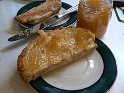 Marmalade spread on bread