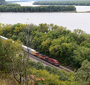 Mississippi River near Savanna Illinois with Railroad Train Oct 4 2015