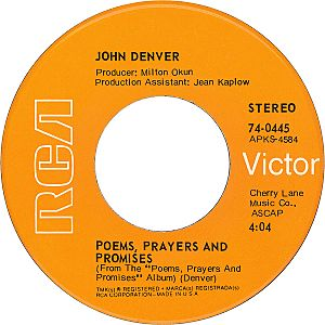 John denver with fat city Poems Prayers and Promises B-side US vinyl single