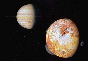Jupiter and Io as seen by Voyager 1