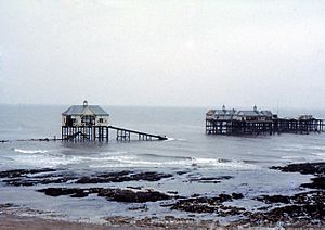 Margate pier after the storm of January 1978