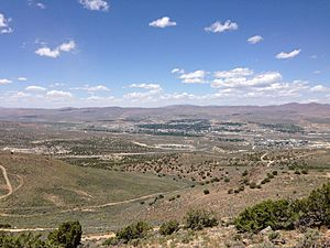"2014-06-13 12 20 53 View of Elko, Nevada from ""E"" Mountain in the Elko Hills of Nevada"