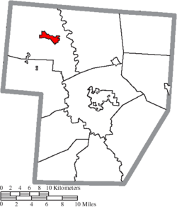 Location of Jeffersonville in Fayette County