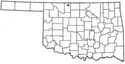 Location of Byron, Oklahoma
