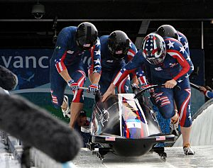 USA-1 in heat 3 of 4 man bobsleigh at 2010 Winter Olympics 2010-02-27