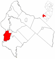 Elsinboro Township highlighted in Salem County. Inset map: Salem County highlighted in the State of New Jersey.