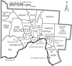 Map of Scioto County Ohio With Municipal and Township Labels