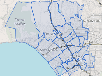 Map of Westside area, Los Angeles County
