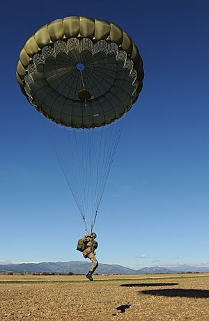 Paratrooper at Spanish drop zone during Exercise Iberian Eagle