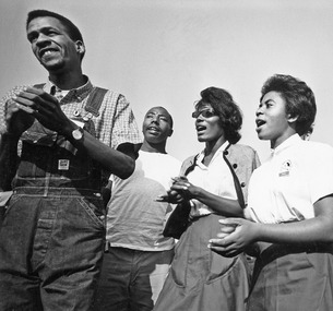 Civil Rights March on Washington, D.C. (Four young marchers singing.) - NARA - 542025
