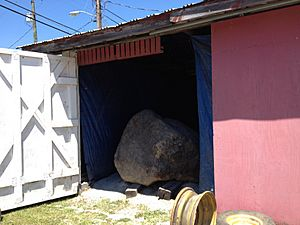 Indian Head Rock in storage, Greenup County KY