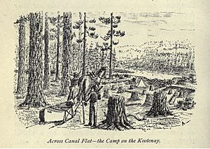 Logging at Canal Flat, BC (1887 drawing)