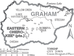 Map of Graham County North Carolina With Municipal and Township Labels