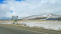 Looking northwest along State Route 58 in Tehachapi after a light dusting of snow