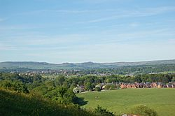 A view of Leek, with the Roaches behind