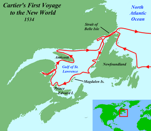 Route of Cartier's first voyage